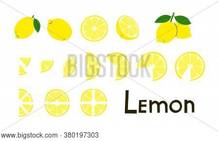 Citrus Fruit. Lemons. Lemon Whole And Cut, Half And Slices. Vitamin C. Set Of Positive Modern Vector