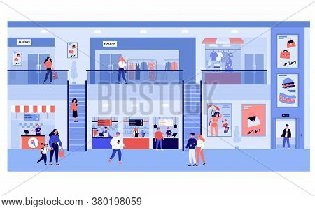 People Shopping In Mall. Customers Walking In Supermarket On Ground Floor And In Fashion Store Upsta