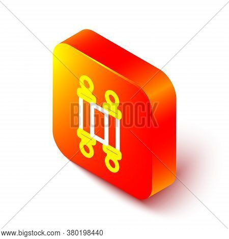 Isometric Line Decree, Paper, Parchment, Scroll Icon Icon Isolated On White Background. Chinese Scro