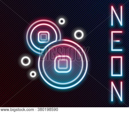 Glowing Neon Line Chinese Yuan Currency Symbol Icon Isolated On Black Background. Coin Money. Bankin