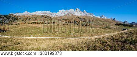 Autumn Dolomites Mountain Tops Panoramic View From San Pellegrino Pass Environs, Trentino, Dolomites