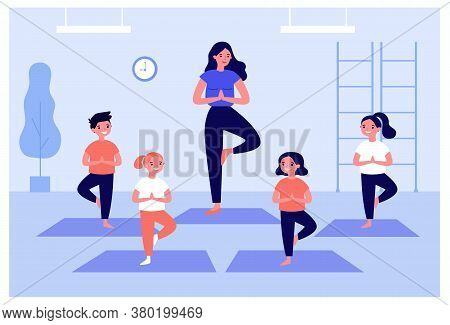 Smiling Kids Exercising In Yoga Class Isolated Flat Vector Illustration. Cartoon Children Doing Exer