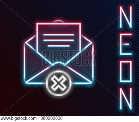 Glowing Neon Line Delete Envelope Icon Isolated On Black Background. Delete Or Error Letter. Cross O