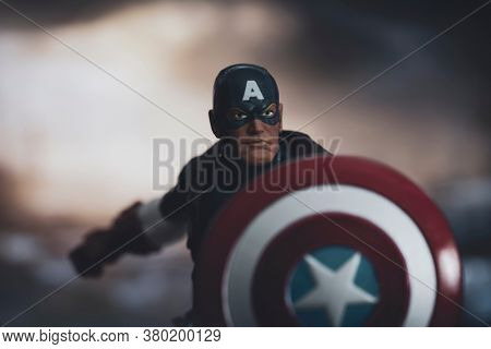 AUGUST 7 2020: Portrait of Marvel comic superhero Captain America of the Avengers in action - Hasbro action figure