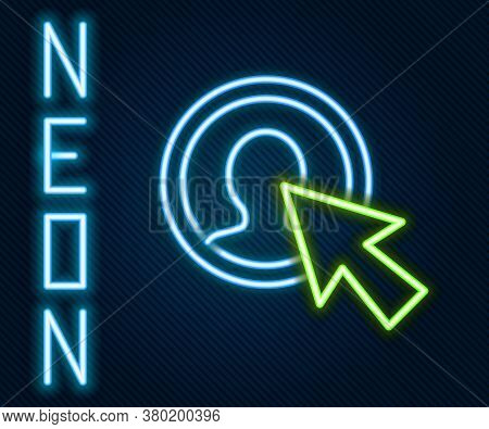 Glowing Neon Line User Of Man In Business Suit Icon Isolated On Black Background. Business Avatar Sy