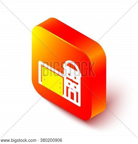 Isometric Line Building Of Fire Station Icon Isolated On White Background. Fire Department Building.