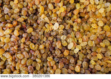 Raisins Are Beautifully Decomposed, Yellow Is The Highest Grade. Delicious Background