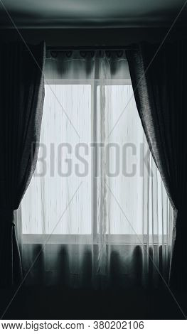 White See Through Sheer Window Curtain. Transparent Fabric
