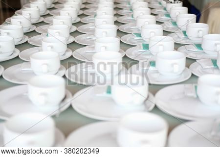 Coffee Cup For Wedding Banquet Conference Seminar Catering Event. Tea Coffee Break Service