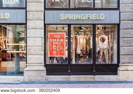 Budapest, Hungary. October 2019: Springfield Shop Front In Budapest With Sale Banner In Fashion Stre