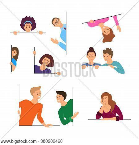 Cartoon Color Characters People Peeking Concept Flat Design Style Symbol Of Curiosity. Vector Illust