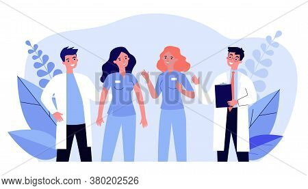 Team Of Hospital Doctors Standing Together. Medical Staff, Physician, Nurse Flat Vector Illustration