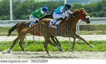 Pyatigorsk,russia - August 9,2020:horse Race For The Traditional Prize Restrictive In Pyatigorsk Hip