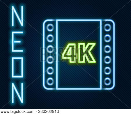 Glowing Neon Line 4k Movie, Tape, Frame Icon Isolated On Black Background. Colorful Outline Concept.