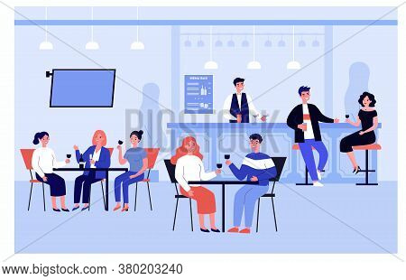 Happy People Meeting In Pub Or Bar For Dinner, Drinking And Eating Isolated Flat Vector Illustration