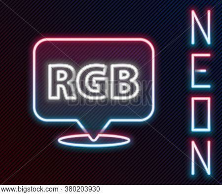 Glowing Neon Line Speech Bubble With Rgb And Cmyk Color Mixing Icon Isolated On Black Background. Co