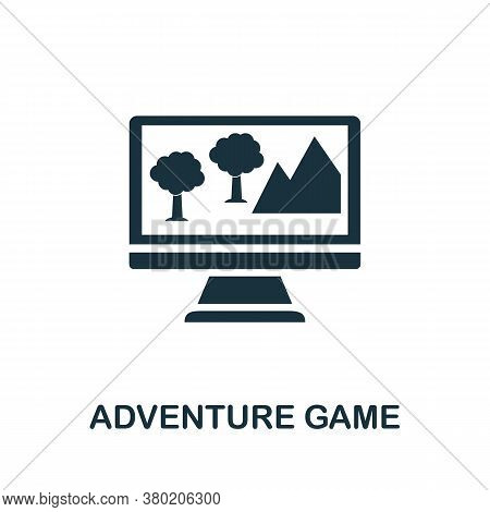 Adventure Game Icon. Simple Element From Game Development Collection. Filled Adventure Game Icon For