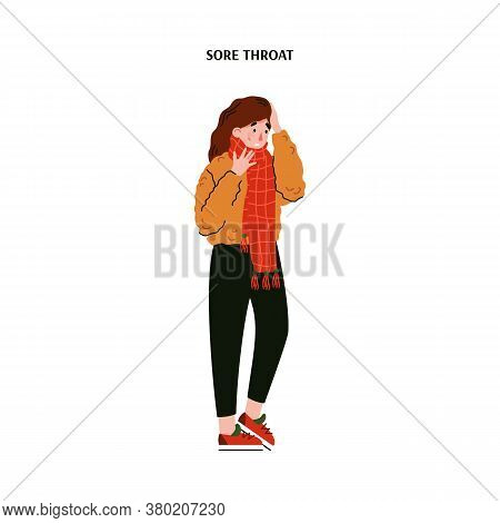 Woman With Sore Throat Wearing A Scarf And Touching Her Aching Head - Cartoon Girl With Cold Illness