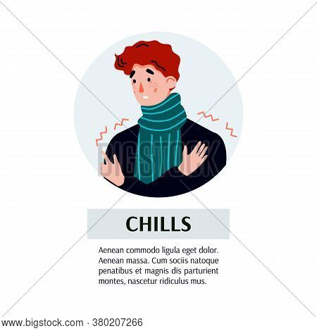 Banner Depicting Chills Symptom Of Flu Or Cold, Cartoon Vector Illustration Isolated On White Backgr