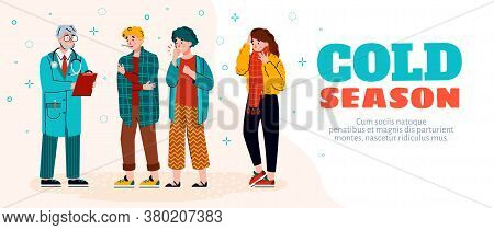 Cold Season Diseases Web Banner With Sick People Characters Coughing, Blowing And Sneezing, Cartoon