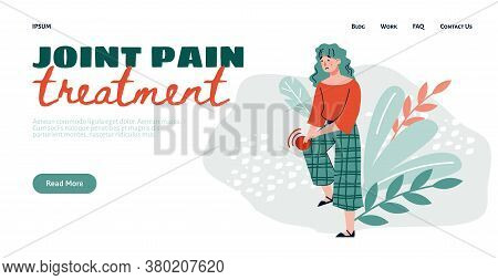 Joint Pain Treatment Web Banner Template With Cartoon Character Of Woman Having Pain In Knee Joint,