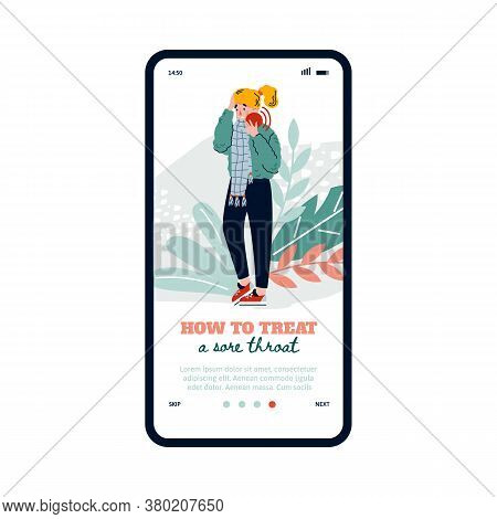 Mobile Onboarding Screen Design For Medical Application Advising How To Treat A Sore Throat In Case