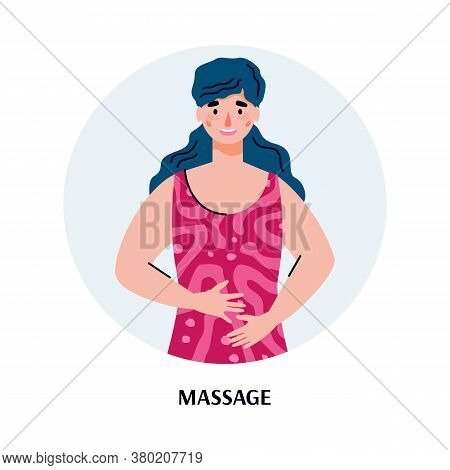 Woman Cartoon Character Massaging Her Belly Trying To Relieve Stomach Ache, Flat Vector Illustration