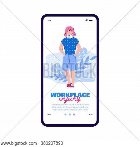 Onboarding Screen Design On Workplace Injury Theme With Cartoon Woman Hurt On Workplace, Flat Vector