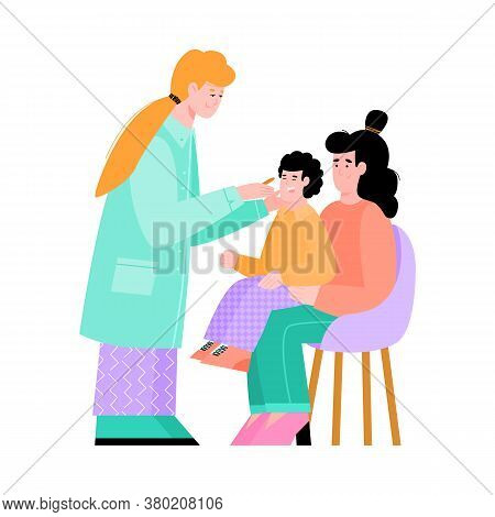 Mother And Baby Boy Visit The Pediatrician. The Family Doctor Conducts A Medical Examination Of The