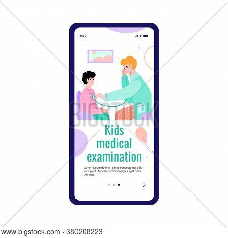 Mobile Onboarding Page For Kids Medical Examination With Cartoon Characters Of Doctor And Child, Fla