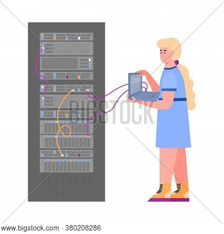 Data Server Rack Technician Holding Laptop Connected To Computer Hardware System. Cartoon Woman Doin