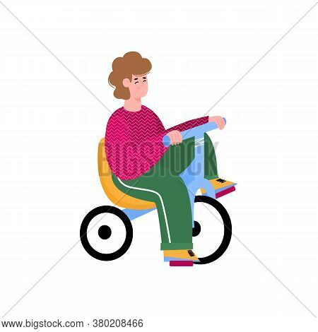 Cartoon Kid Riding Little Chopper Bicycle With Seat, Little Boy Sitting On Drift Tricycle Bike And S