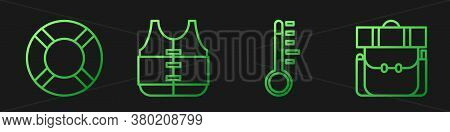 Set Line Meteorology Thermometer, Lifebuoy, Life Jacket And Hiking Backpack. Gradient Color Icons. V