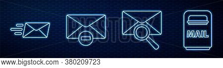 Set Line Envelope With Magnifying Glass, Express Envelope, Delete Envelope, Mail Box And Delete Enve
