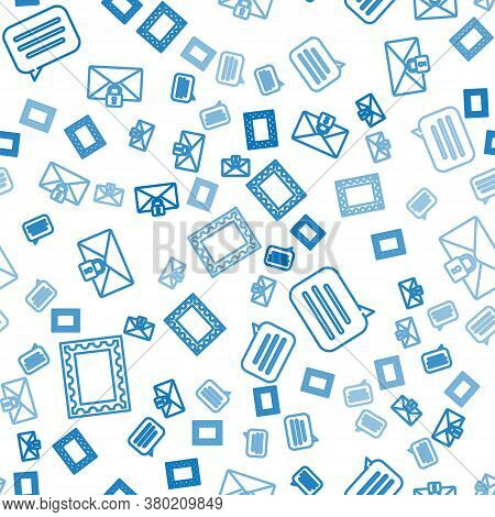 Set Line Postal Stamp, Speech Bubble Chat And Mail Message Lock Password On Seamless Pattern. Vector