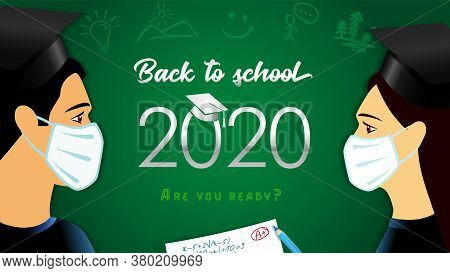 Back To School 2020, Vector Banner Design With Students In Medical Mask, Graduate Test, Pencil And T