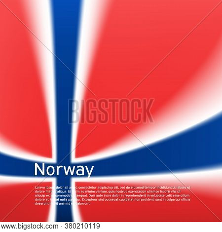 Norway Flag Background. Blurred Pattern In The Colors Of The Norwegian Flag. National Poster, Banner