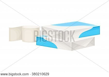 White Paper Ream And Roll Of Paper As Manufactured Product Vector Illustration