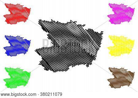 Maine-et-loire Department (france, French Republic, Pays De La Loire Region) Map Vector Illustration