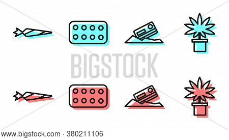Set Line Cocaine And Credit Card, Marijuana Joint, Pills In Blister Pack And Marijuana Or Cannabis P