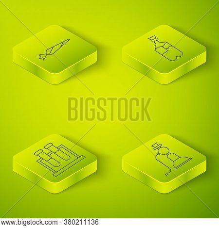Set Isometric Bong For Smoking Marijuana, Test Tube And Flask, Hookah And Marijuana Joint Icon. Vect
