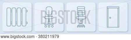 Set Line Heating Radiator, Office Chair, Office Chair And Closed Door. White Square Button. Vector