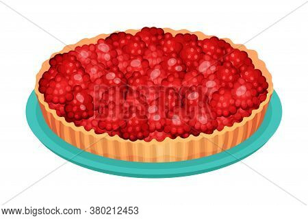 Sweet Homemade Open Pie Or Tart With Berry Filling And Crust Made Of Shortcrust Pastry Vector Illust