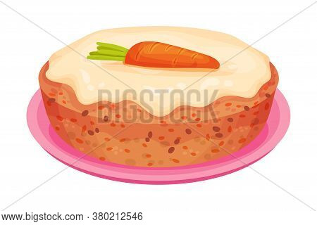 Sweet Homemade Carrot Pie With Crust Made Of Shortcrust Pastry Vector Illustration