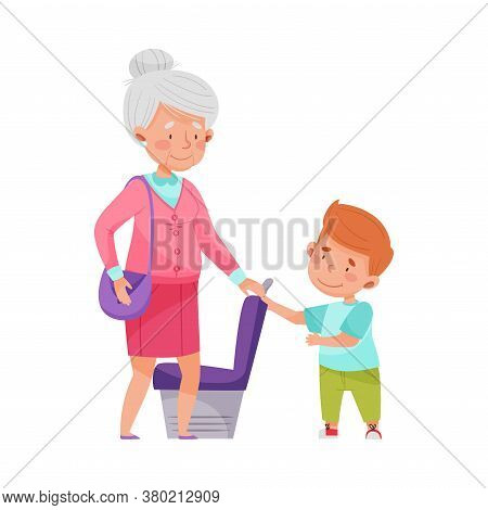 Polite Boy Yielding A Seat To Senior Woman In Public Transport Vector Illustration