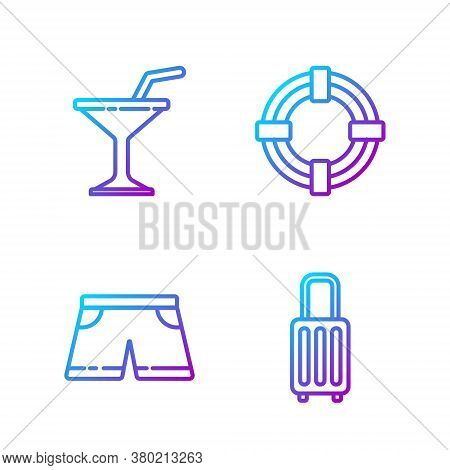 Set Line Suitcase, Swimming Trunks, Martini Glass And Lifebuoy. Gradient Color Icons. Vector