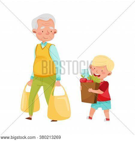 Polite Boy Carrying Shopping Bag Helping Senior Man Vector Illustration