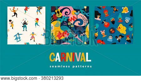 Vector Seamless Patterns With Funny Dancing Men And Women In Bright Modern Costumes, Carnival Object