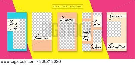 Social Stories Cool Vector Layout. Online Shop Elegant Invitation Advert. Blogger Minimal Frame, Soc
