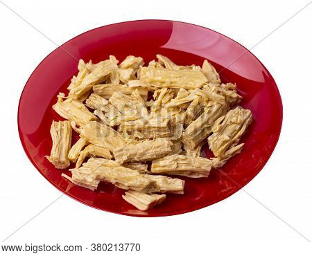 Soy Asparagus Noodles On Red Plate, Isolated On A White Background. Healthy Food . Asian Food. Soy A